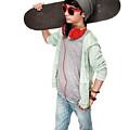 Teen Boy With Skateboard by Anna Om