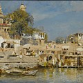 Temples And Bathing Ghat by Edwin Lord