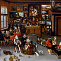 The Archdukes Albert And Isabella Visiting A Collector's Cabinet by Jan Brueghel the Elder