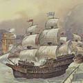 The Fleet Of Jean Ango Blocks The Tagus by Albert Robida