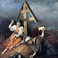 The Scene At The Grave H 1859 58h69 Am Gtg Vasily Perov by Eloisa Mannion
