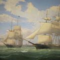 The Ships Winged Arrow And Southern Cross In Boston Harbor By Fitz Henry Lane 1853 by Fitz Henry Lane