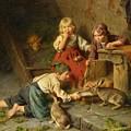 Three Children Feeding Rabbits by MotionAge Designs
