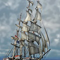 Three Mast Schooner by Anthony Dezenzio