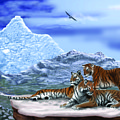 Tigers On A Ledge by Larry Ryan