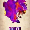 Tokyo Watercolor Map 2 by Naxart Studio