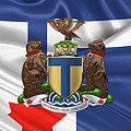 Toronto - Coat Of Arms Over City Of Toronto Flag  by Serge Averbukh