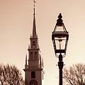 Trinity Church Newport With Lamp by Nancy De Flon