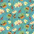 Tropical Island Floral Half Drop Pattern by Audrey Jeanne Roberts