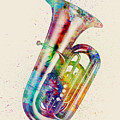 Tuba Abstract Watercolor by Michael Tompsett