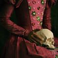 Tudor Woman Holding A Human Skull by Lee Avison