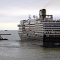Tugboat Assisting Big Cruise Liner In Venice Italy by Richard Rosenshein