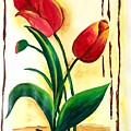 Red Tulips by Pushpa Sharma