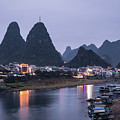 Twilight Over The Lijang River In Yangshuo by Didier Marti