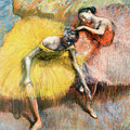 Two Dancers In Yellow And Pink by Edgar Degas