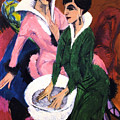 Two Women With A Washbasin by Ernst Ludwig Kirchner