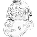 Us Navy Diving Helmet Mark V by PixBreak Art
