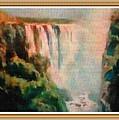 Victoria Waterfalls L B With Alt. Decorative Ornate Printed Frame. by Gert J Rheeders