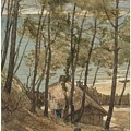 View From A Hill On A House On The Gulf Of Arcachon, August Allebe 1876 by Artistic Panda