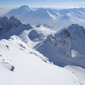 View From Summit Of Valluga, St Saint Anton Am Arlberg Austria by Peter Barritt