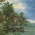 View Of A Village Along A River by Jan Brueghel the Elder