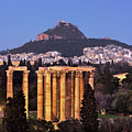 View Of The Temple Of Olympian Zeus And Mount Lycabettus In The  by Andrey Omelyanchuk