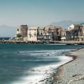 Village And Shingle Beach Of Erbalunga In Corsica by Jon Ingall