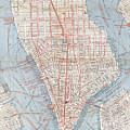 Vintage Map Of Lower Manhattan  by CartographyAssociates