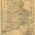 Vintage Map Of Rhode Island  by CartographyAssociates
