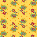 Vintage Wallpaper Seamless Rose Flower Pattern On Circles Polka  by Svetlana Corghencea