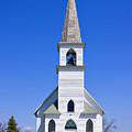 Vintage White Church With Bell  by Donald  Erickson