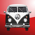 Volkswagen Type 2 - Black And White Volkswagen T 1 Samba Bus On Red  by Serge Averbukh