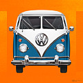 Volkswagen Type 2 - Blue And White Volkswagen T 1 Samba Bus Over Orange Canvas  by Serge Averbukh