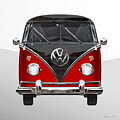 Volkswagen Type 2 - Red And Black Volkswagen T 1 Samba Bus On White  by Serge Averbukh
