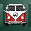 Volkswagen Type 2 - Red And White Volkswagen T 1 Samba Bus Over Green Canvas  by Serge Averbukh