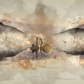 Watercolor Painting Of Beautiful Romantic Image Of Swans On Mist by Matthew Gibson
