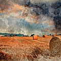 Watercolour Painting Of Beautiful Golden Hour Hay Bales Sunset L by Matthew Gibson