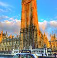 Westminster Bridge And Taxi by David Pyatt