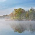 Whitford Lake In Fog by Dean Pennala