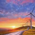 wind turbines in Oiz eolic park by Mikel Martinez de Osaba