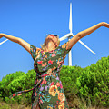 Wind Turbines Woman by Benny Marty
