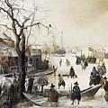 Winter Scene On A Canal by Hendrick Avercamp