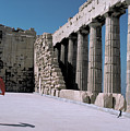 Woman At The Parthenon In Athens by Carl Purcell