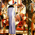 Woman In Front Of A Large Illuminated Window by August Macke