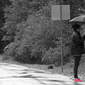 Woman In Fuchsia Sneaker Selective Coloring by Colleen Cornelius