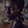 Woman In Splattered Golden Facial Paint by Veronica Azaryan