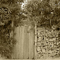 Wood Gate In A Wall Of Stones by Robert Hamm