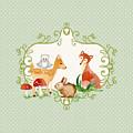 Woodland Fairytale - Animals Deer Owl Fox Bunny N Mushrooms by Audrey Jeanne Roberts
