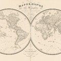 World Map In Two Hemispheres by Art Makes Happy