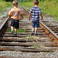 Young Boys On Railway Tracks by Nadine Mot Mitchell